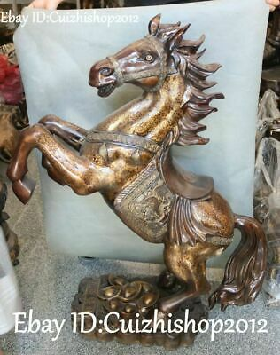 "39"" Unique China Bronze Running Horse Zodiac Year Horses Dragon Loong statues"