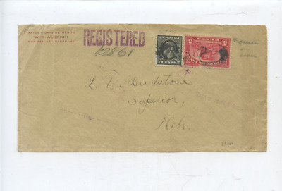 ca 1915 US  registered mail stamp cover