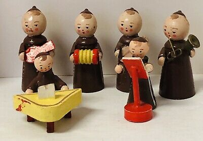 "Vintage Miniature Wood Friar Monks (6) Musical Band Erzgebirge Rare 2"" & 1.5"""