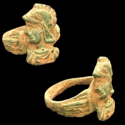 Ancient Roman Bronze Ring With Warrior Bust - 200-400 Ad (14)