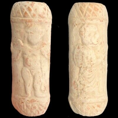 Ancient Terracotta Indus Valley Cylinder Artefact With 2 Figures (2)