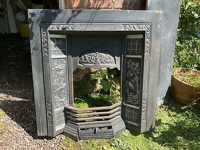 Antique Cast Iron Fire Place With Wooden Surround Complete