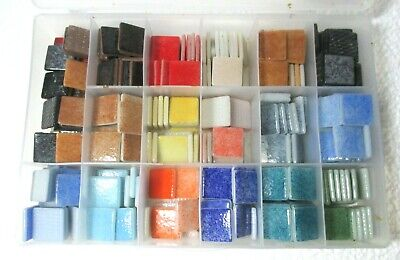 """Box of 1"""" MOSAIC GLASS TILES.  Many Colours. (Box included) CRAFT"""