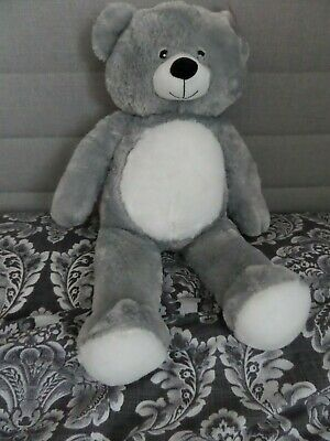 GORGEOUS GREY & WHITE SUPER SOFT AND CUDDLY LARGE TEDDY BEAR 70cm