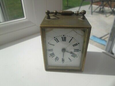 VINTAGE MINUTE  CARRIAGE CLOCK  brass