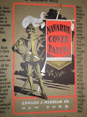 Navarre Litho Printing Cover Poster Sign Original C1900 Knight Merriam Co NY