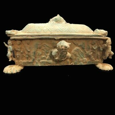 Ancient Roman Bronze Period Pictorial  Jewellery Box With Lid - 200-400 Ad