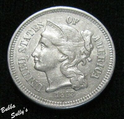 1868 III Cent Nickel <> EXTREMELY FINE