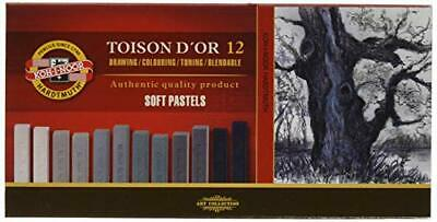 KOH-I-NOOR TOISON D'OR 8592 Artist's Soft Pastels - Grey (Pack of 12)