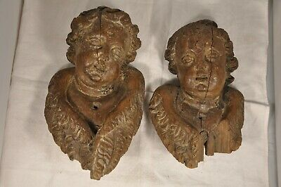 PAIRE ANGELOTS PUTTI BOIS SCULPTE ANTIQUE CARVED WOOD CHERUB SCULPTURES 17th. c.