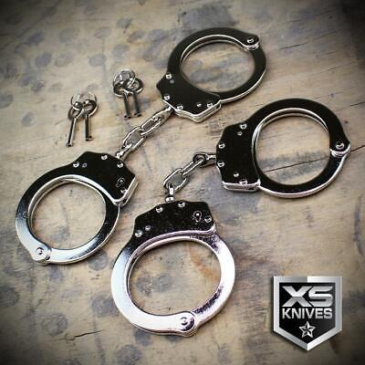 2PC Police Handcuffs CHROME NICKEL Double Lock AUTHENTIC Hand Cuffs w/Keys REAL