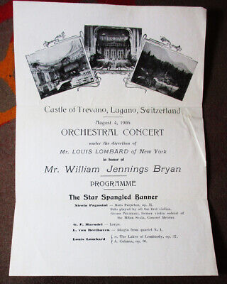 1906 Broadside Castle Trevano Lugano Switzerland William Hennings Bryan