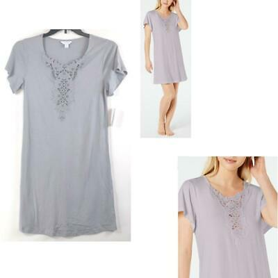 Charter Club Lace-Trimmed Sleepshirt Nightgown Gray New Choose Size Pajama