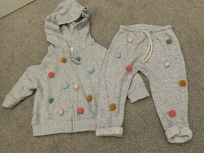 Next Baby Girls Light Grey Marl Pom Pom Front Hooded Tracksuit Age 9-12 Months