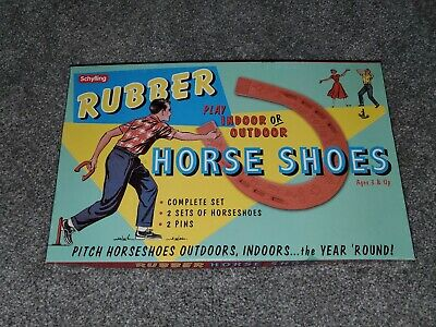 Vintage Schylling Indoor Outdoor Game Rubber Horse Shoes in box Great Condition