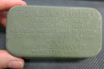 U.s. Wwii First Aid Packet Carlisle Model By Handy Pad Supply Co Worcester, Mass