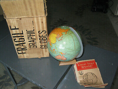 Weber Costello 1930 Peerless Terrestrial 6 Inches world globe,MINT in box!