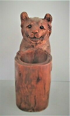 Antique Black Forest Wood Bear Carving
