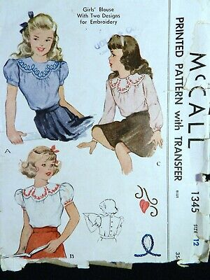 Vtg 1940s McCall 1345 Embroidered Yoke Blouse Sewing Transfer PATTERN Girl 12