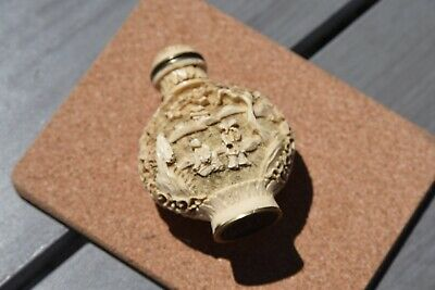 Vintage Chinese Resin Ivory Carved Snuff Bottle