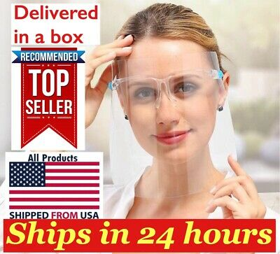 Full Face Shield Guard Mask Safety Protection With Glasses, Reusable USA SELLER