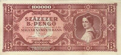 1946 100 Quadrillion Pengo Hungary Currency Banknote Note Money Bank Bill Cash B