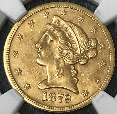 1879 cc. $5 gold Liberty   ,  NGC  AU Details Cleaned coin Carson City