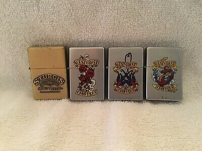 Lot Of 4 Motorcycle Themed Flip Top Lighters