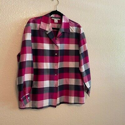 Notations Womens Size XL Reds/pinks/blacks Check Button Front Silk Top [T50]