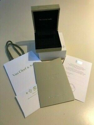 Van Cleef Arpels Suede Earrings box, Certificate w Envelope and Bag.