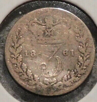 British Silver Threepence - 1861 - Queen Victoria - $1 Unlimited Shipping