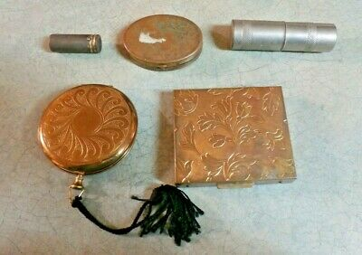 Vintage Compacts And Lipstick Holders 5 Piecdes