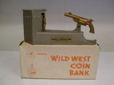 """RARE MINT DURO MOLD """"THE WILD WEST"""" METAL COIN BANK W/Box-Key & Instructions"""