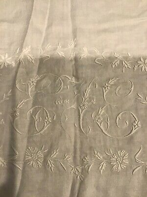 """GORGEOUS Hand Embroidered Floral GrapesLinen Tablecloth Monogrammed """"EE""""- Damage"""
