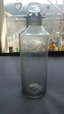 RARE FREE BLOWN FLINT GLASS PONTILED CHEMIST PHARMACY APOTHECARY 1840c BOTTLE