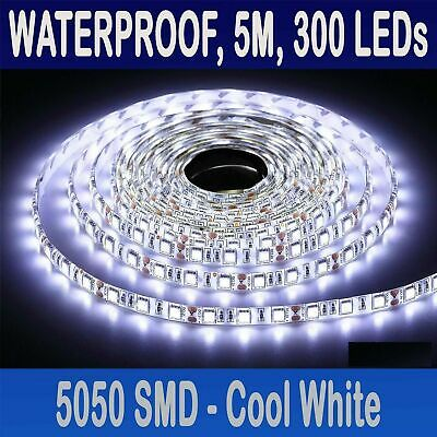 New Waterproof 5m Bright 12V LED Strip 5050 SMD Light 300LEDs Cool White Lights