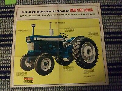 Vintage Ford 5000 Farm Tractors and Implements Advertising Brochure Poster 1965.