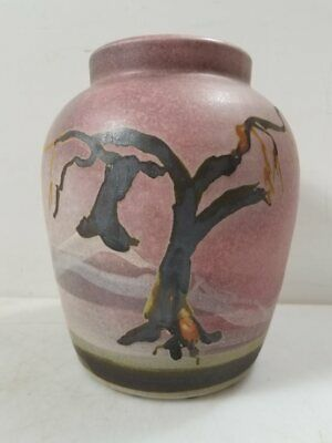 Handmade Studio Pottery Vase Signed By The Artist Southwestern Pink w/ Tree