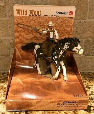SCHLEICH Cowboy With Lasso On Horse Western 70303 Retired RARE Brand New In Box