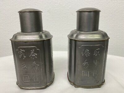 2 Hong Hong Pewter Tea Containers