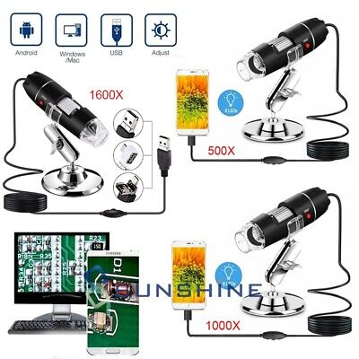 1000/1600X Digital 8 LED USB Zoom Microscope Magnifier Endoscope Camera & Stand