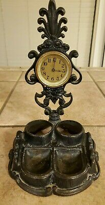 Antique Victorian Cast Iron Inkwell With Mechanical Clock Vintage
