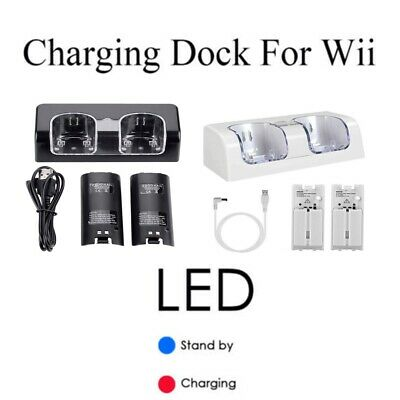 Dual Batteries+Charger Charging Dock Station For Nintendo WII Remote Controllers