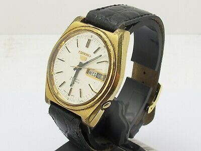 Vintage Seiko 5 Automatic 21 Jewels Gents Mans Day Date Watch