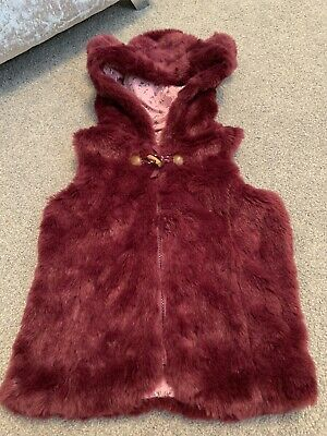 Baby Girls Burgundy Soft Faux Fur Zip Toggle Hooded Bear Ear Gilet Age 3-4 Years