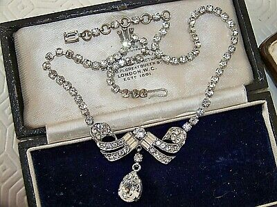 Schoffel & Co Vintage Signed Jewellery Austrian Crystal Deco Cocktail Necklace