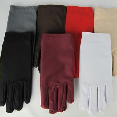 Ladies Short Wrist Gloves Smooth Spandex For Party Dress Prom Evening Wedding LZ