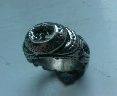 Ancient Viking Solid Silver Decorated Seal Ring With Impression 900-1100 Ad