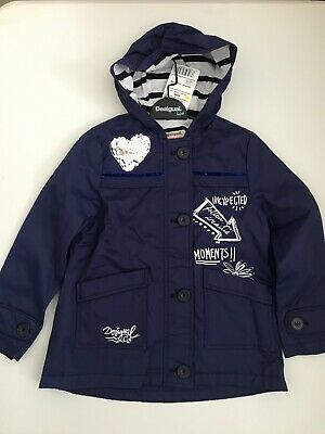 NEW!! DESIGUAL Kids Girls Designer COAT age 7/8 yrs BLUE REV SEQUINS!!
