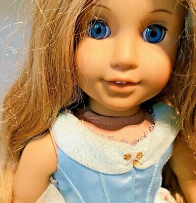 American Girl Doll Blonde Hair Blue Eyes Pleasant Company Party Dress & Shoes